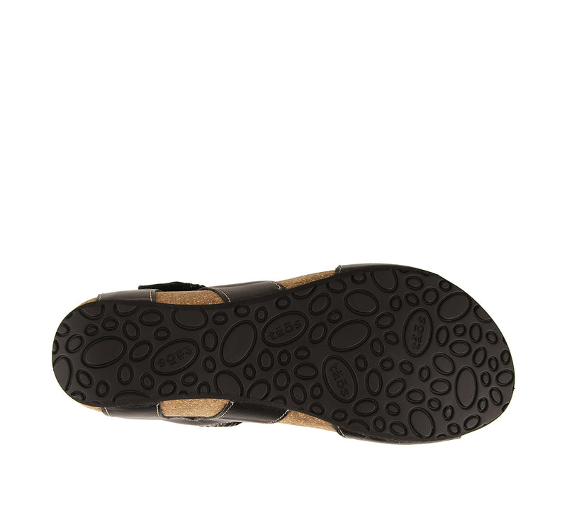 Taos Bonnie Black Woven Leather Supportive Sandals