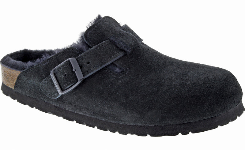 Birkenstock Boston Shearling Suede Leather Black