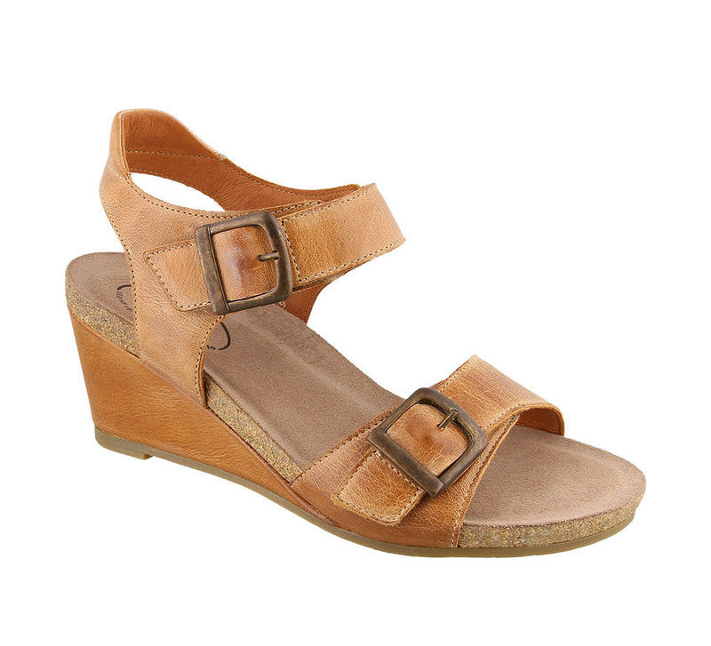 Taos Buckle Up Camel Leather Supportive Wedge Sandals