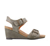 Taos Buckle Up Graphite Leather Supportive Wedge Sandals