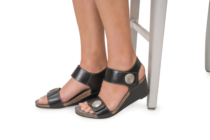 Taos Carousel 2 Black Leather Supportive Wedge Sandals