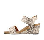 Taos Carousel 2 Black Snake Printed Leather Supportive Wedge Sandals