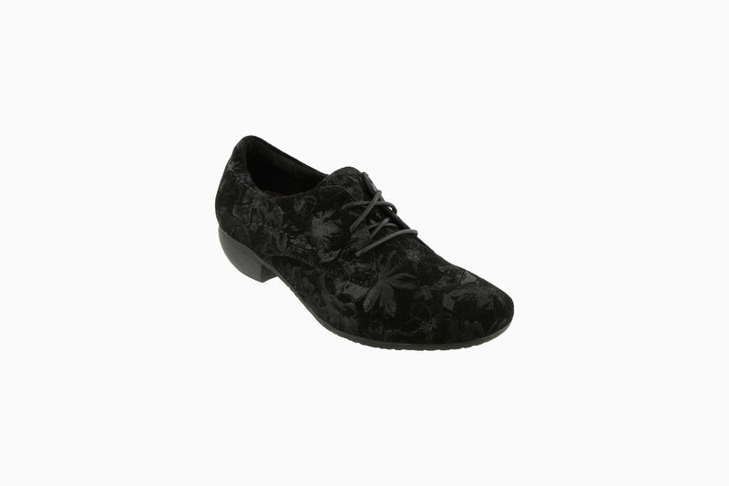 Taos Cobbler Black Suede Printed Leather Supportive Casual Shoes