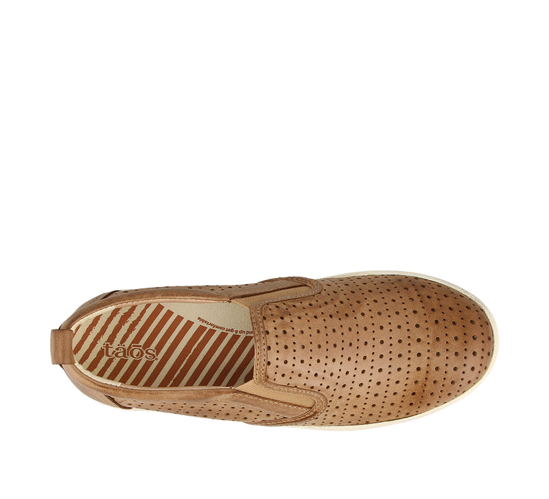 Taos Court Tan Leather Supportive Slip-On Tennis Shoes