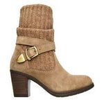 Taos Women's Cozy Top Taupe Suede Leather Knit Top Casual Boots