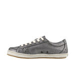 Taos Freedom Pewter Metallic Leather Supportive Sneakers