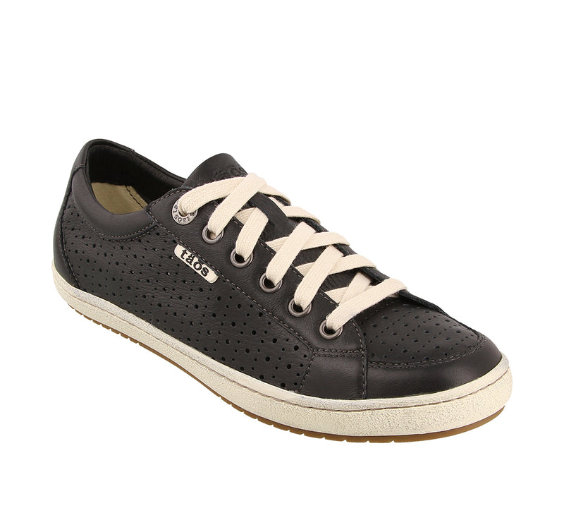 Taos Jester Black Leather Supportive Sneakers