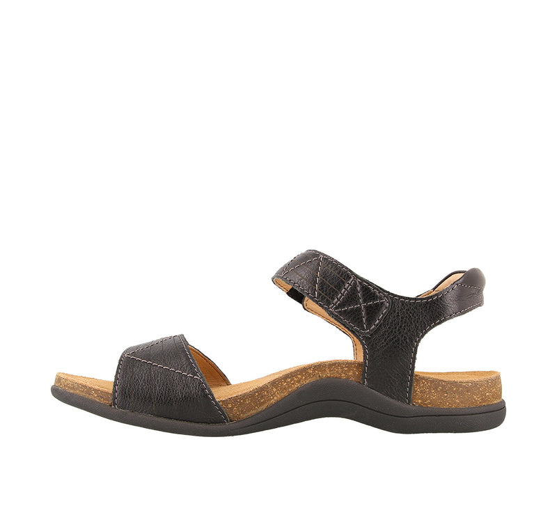 Taos Pioneer Black Leather Supportive Sandals