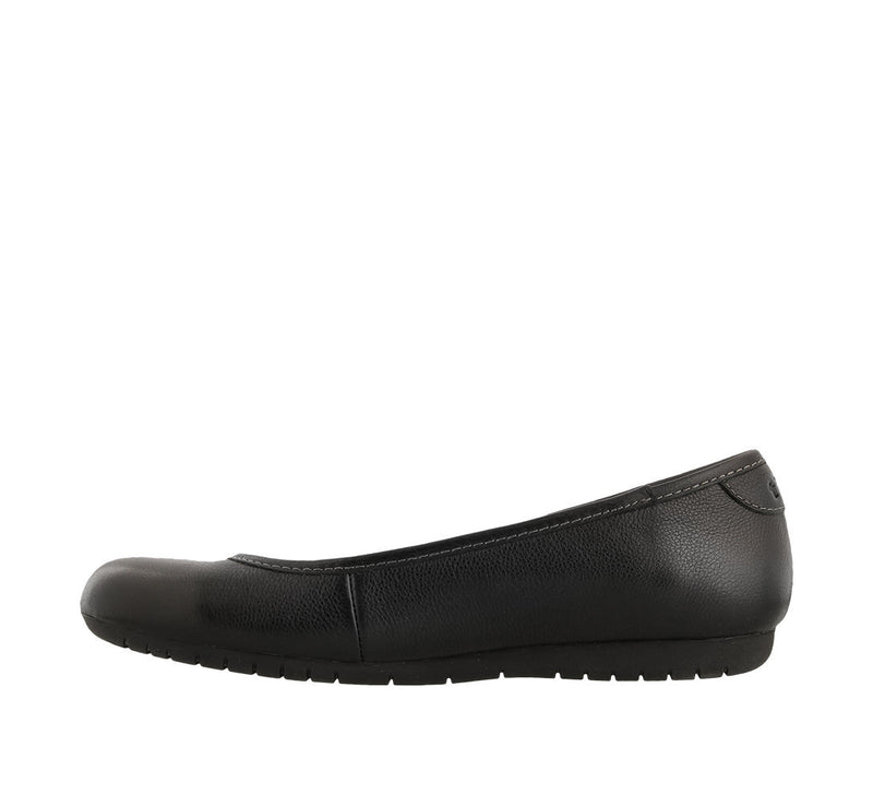 Taos Rascal Black Leather Supportive Ballet Flats