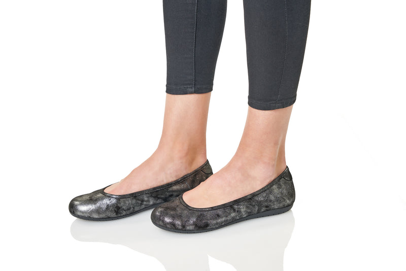 Taos Rascal Black Metallic Leather Supportive Flats