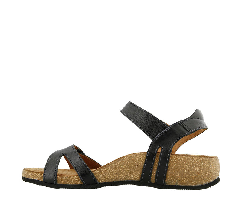 Taos Sadie Black Leather Supportive Sandals
