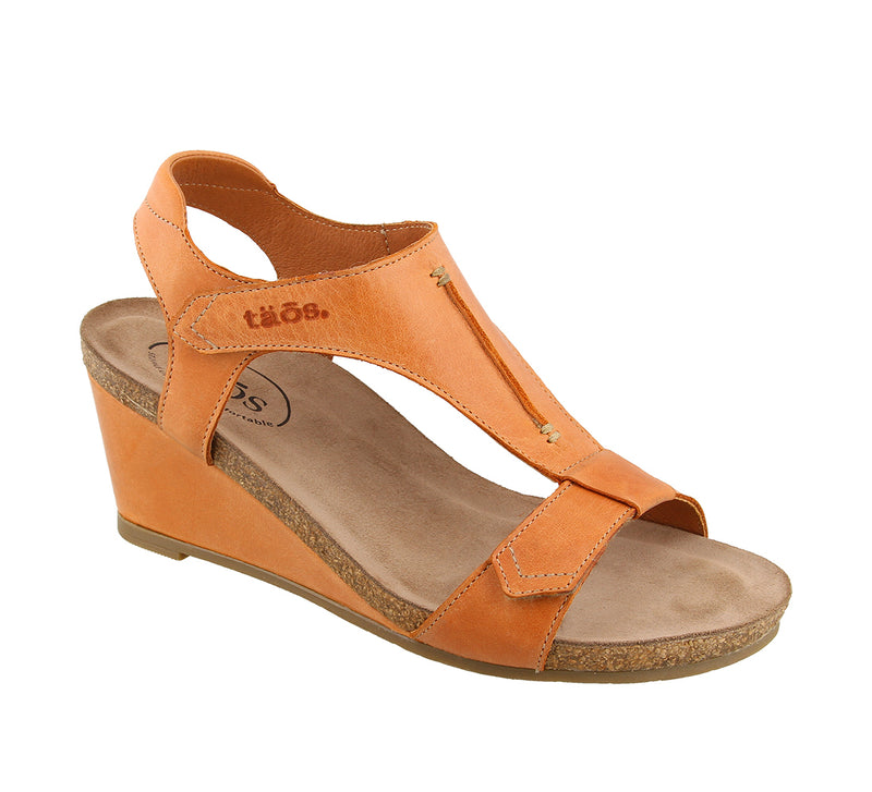 Taos Sheila Cantaloupe Leather Supportive Wedge Sandals