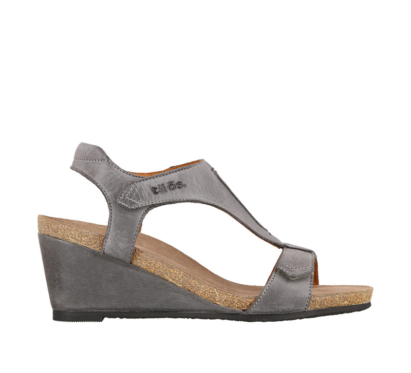 Taos Sheila Steel Leather Supportive Wedge Sandals