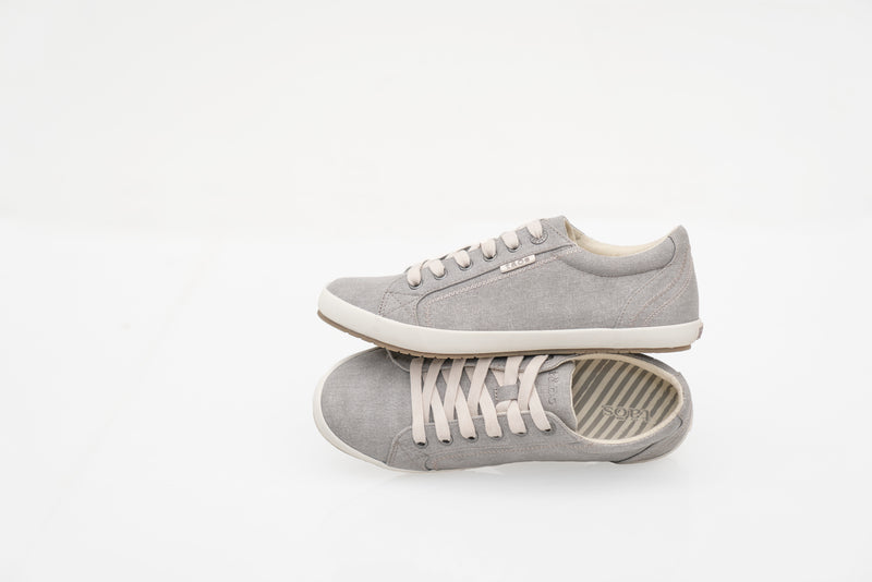 Taos Star Grey Washed Canvas Supportive Sneakers
