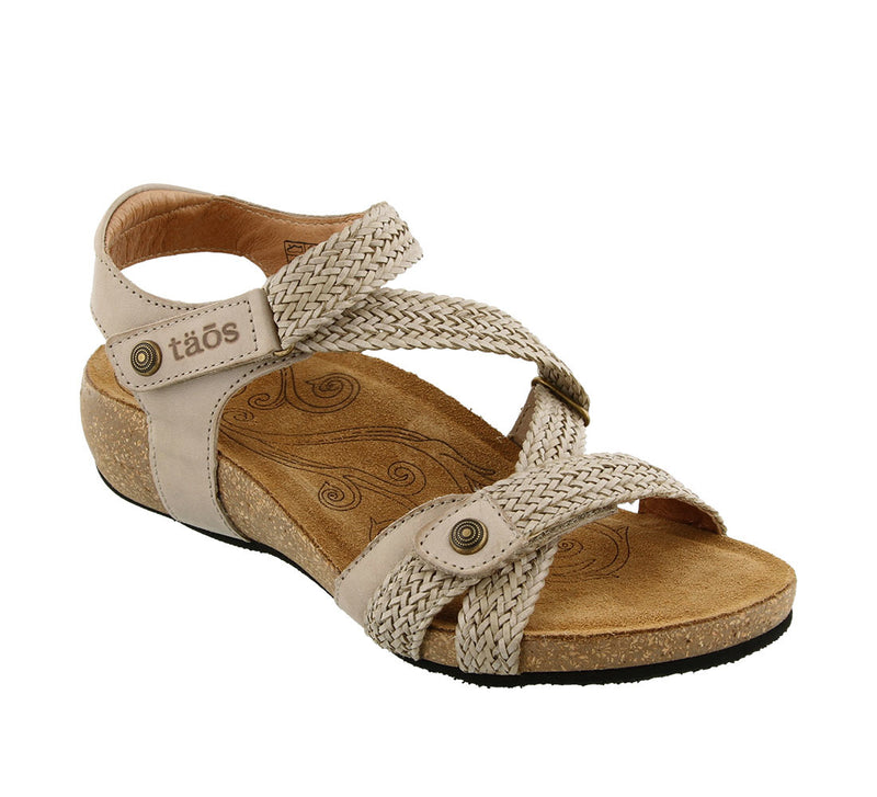 Taos Trulie Stone Woven Leather Supportive Sandals