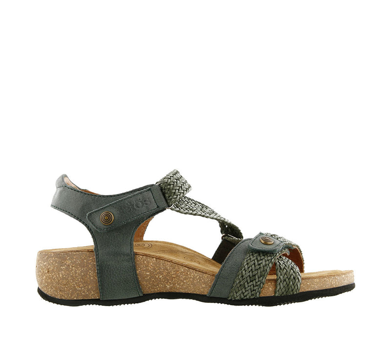 Taos Trulie Vintage Green Leather Supportive Sandals