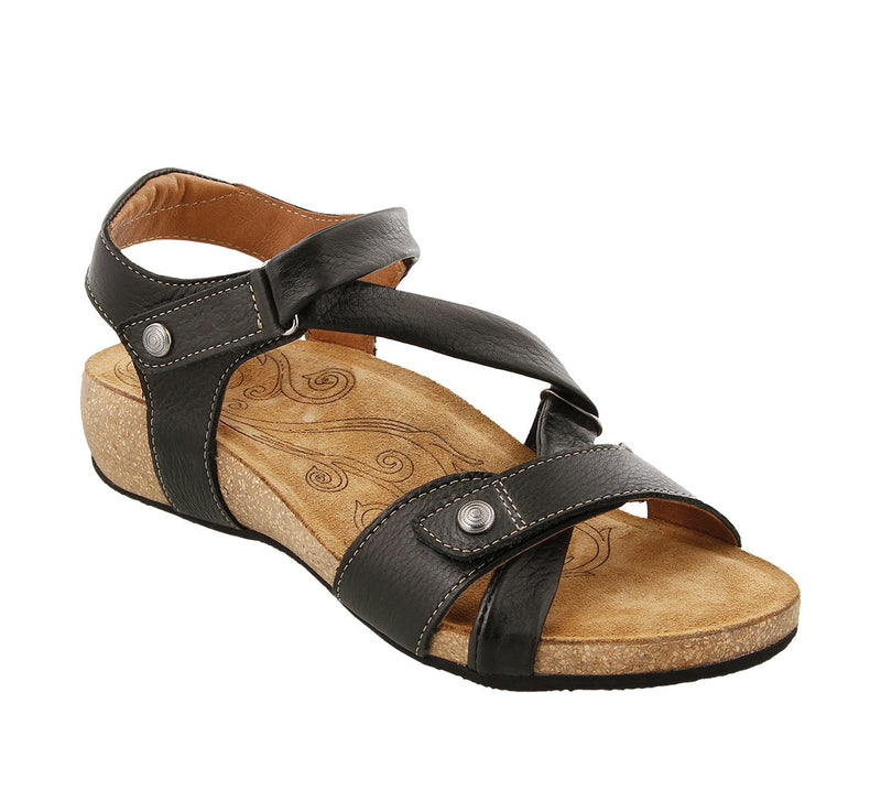 Taos Universe Black Leather Supportive Sandals