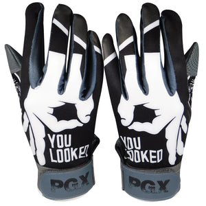 """YOU LOOKED"" Batting gloves Black/Grey"
