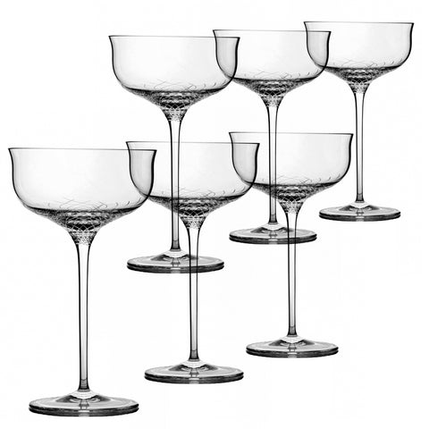 Sera - 6 pcs Set Crystal Champagne Coupe (saucer)