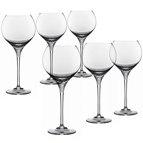 Sera - 6 pcs Set Red Wine Crystal Stem Glass (globe)