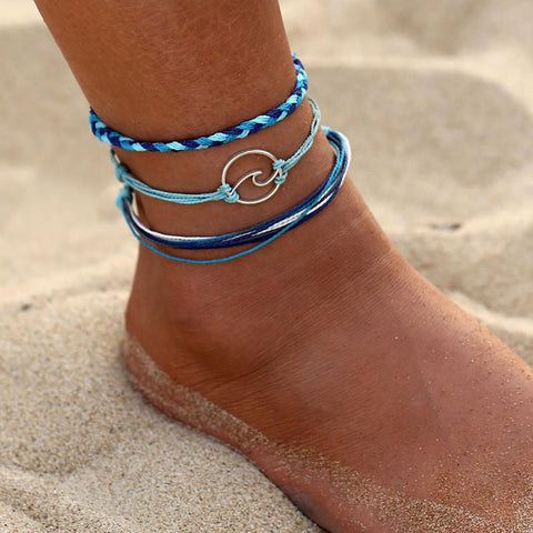 Wave Charm Handmade Rope Anklets