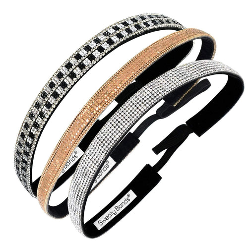 3 Pack | Bling | Girl's Best Friend | Gold Digger | Rock My World Sweaty Bands Non Slip Headband