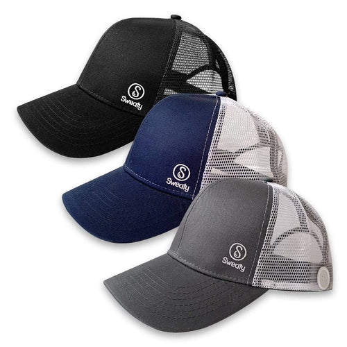 3 Pack | Sweaty Baseball Hats with Buttons | Black, Grey, Navy Sweaty Bands Non Slip Headband