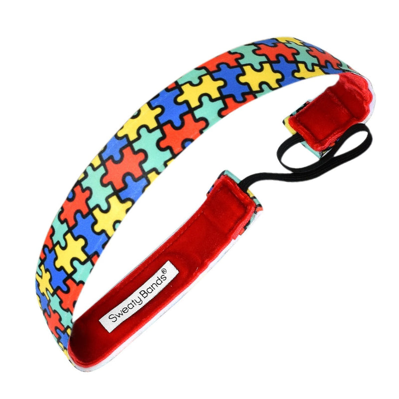 Autism Puzzle Green, Blue, Red & Yellow Sweaty Bands Non Slip Headband