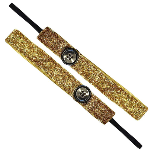 Buttons | Viva Diva | Gold | 1 Inch Sweaty Bands Non Slip Headband