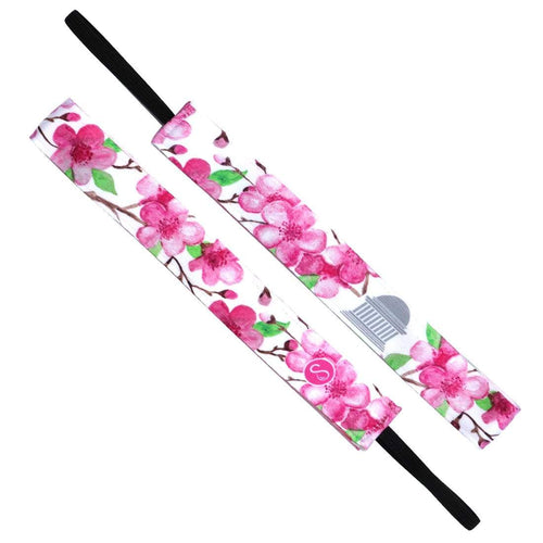 Cherry Blossom Monument | White, Pink | 1 Inch Sweaty Bands Non Slip Headband