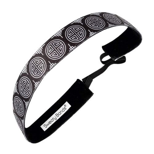 Chinese New Year | Black, White | 1 Inch Sweaty Bands Non Slip Headband