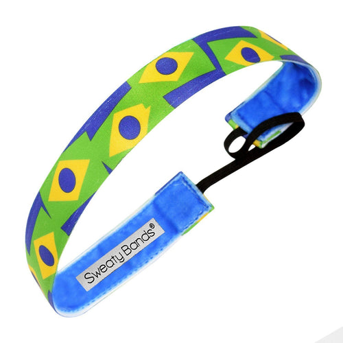 Country Pride Brazil Flag Sweaty Bands Non Slip Headband