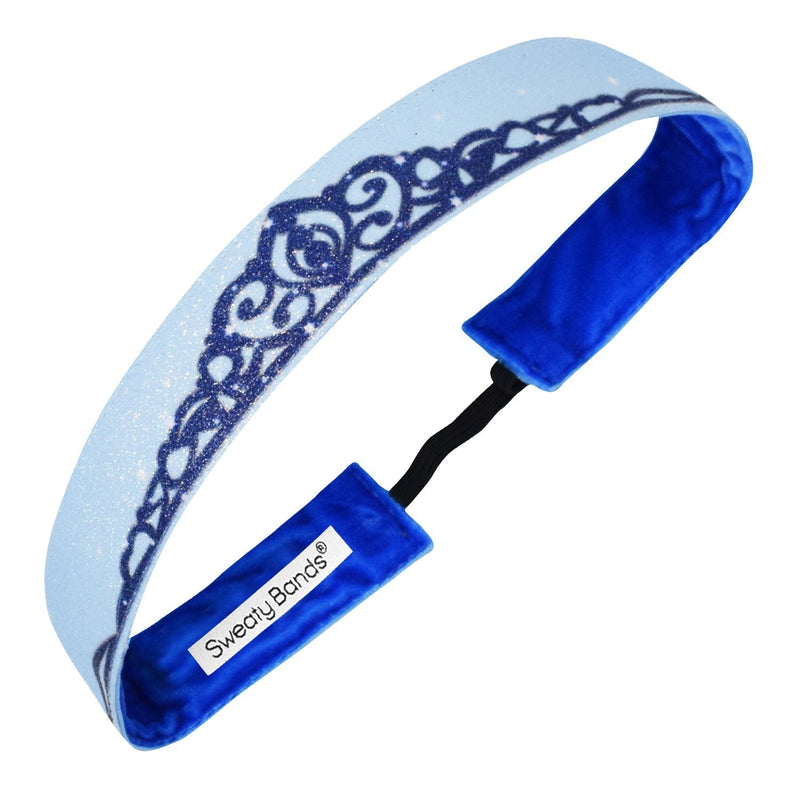 Crown Me | Shimmer | Blue | 1 Inch Sweaty Bands
