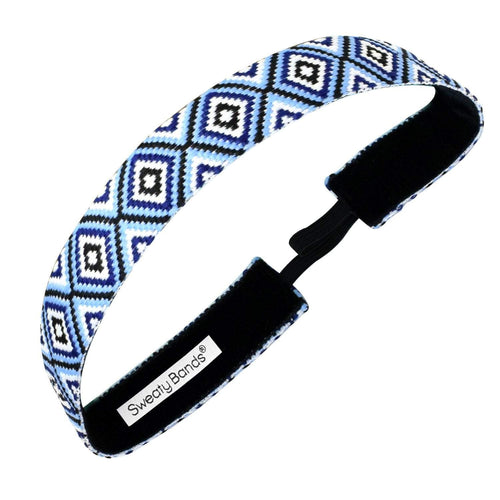 Diamond Girl | Light Blue, Navy | 1 Inch Sweaty Bands