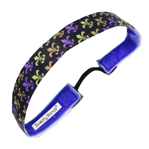 Fleur de Lis | Black, Multi | 1 Inch Sweaty Bands Non Slip Headband