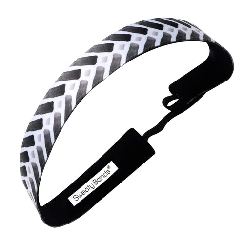 Follow Me | Black, White | 1 Inch Sweaty Bands Non Slip Headband