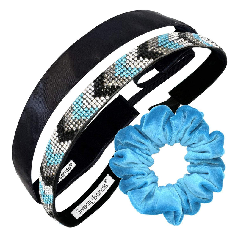 Gift Pack | Bling It Chevron So Chic Turquoise | Simply Satin Black | Scrunchie Turquoise Sweaty Bands