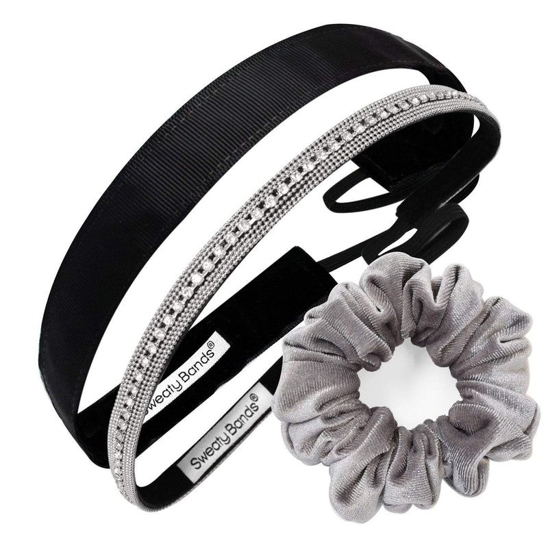 Gift Pack | Bling It Ice Ice Lady | Rock Solid Black | Scrunchie Light Grey Sweaty Bands