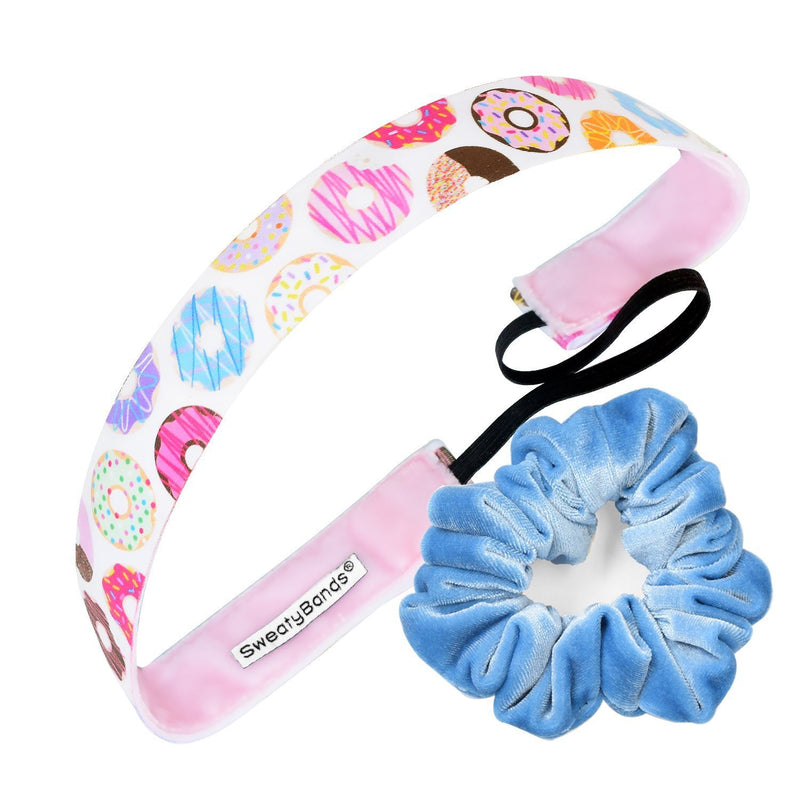 Gift Pack | Donut Give Up | Scrunchie Light Blue Sweaty Bands