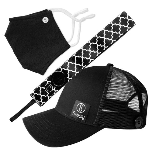 Gift Pack | Face Mask Black | Sweaty Baseball Hat with Buttons | Moroccan My World with Buttons Sweaty Bands Non Slip Headband