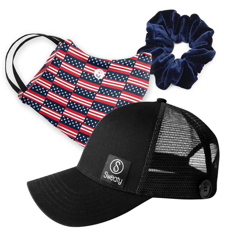 Gift Pack | Face Mask Home of the Brave  | Sweaty Baseball Hat with Buttons | Scrunchie Navy Sweaty Bands Non Slip Headband