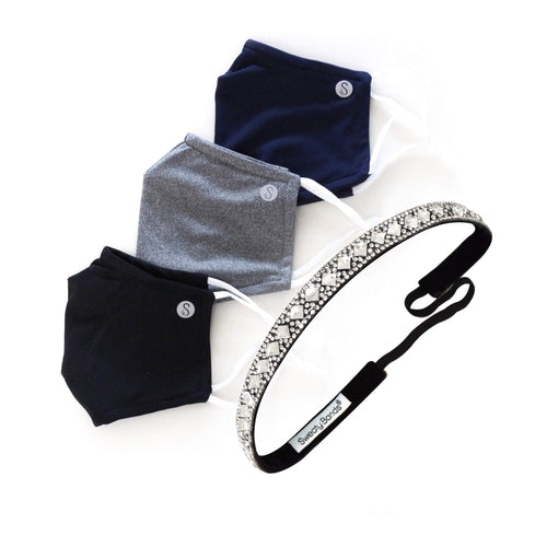Gift Pack | Fresh Face Masks | Black, Heathered Grey, Navy | Girl, You're a Gem Sweaty Bands Non Slip Headband