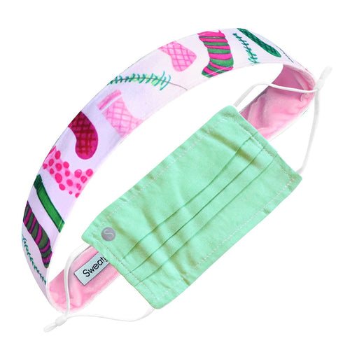 Gift Pack | Holiday | Oxford Face Mask Green | Stuff Your Stockings Sweaty Bands Non Slip Headband