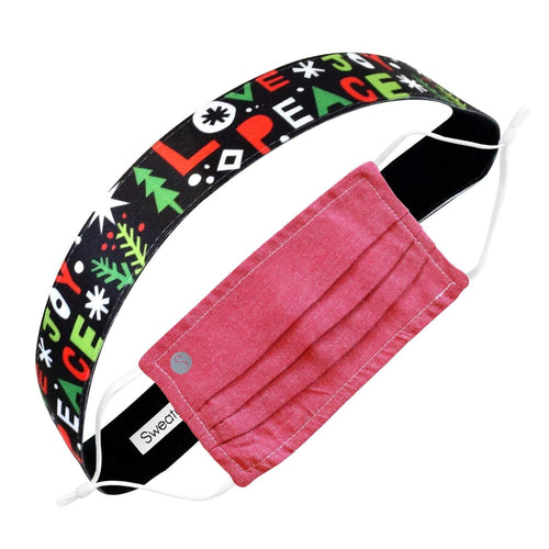 Gift Pack | Holiday | Oxford Face Mask Red | Peace Love Joy Sweaty Bands Non Slip Headband