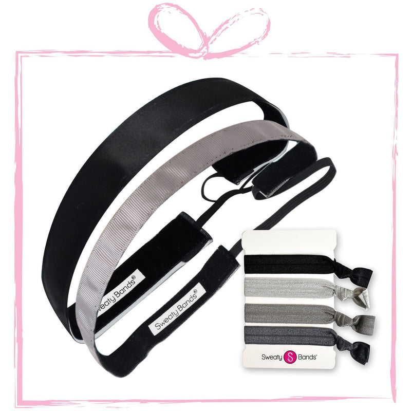 Gift Pack Wicked Exclusive Black, Rock Solid Grey Sweaty Bands Non Slip Headband