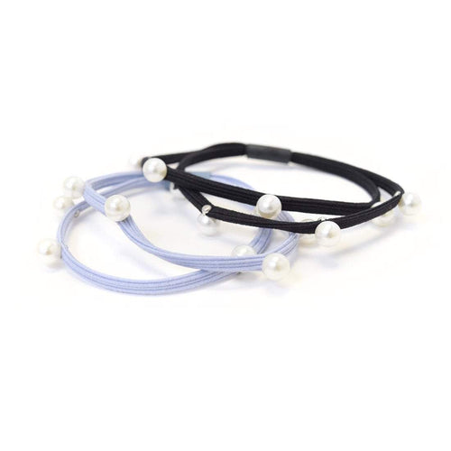 Hair Ties | Pearls | Black, Light Blue Sweaty Bands