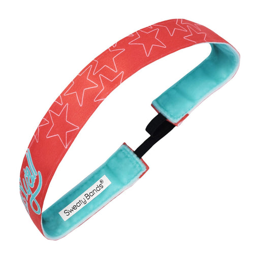 Hey Y'all | Red, Teal | 1 Inch Sweaty Bands Non Slip Headband