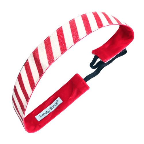 Holiday | Candy Cane | Shimmer | Red, White | 1 Inch Sweaty Bands Non Slip Headband
