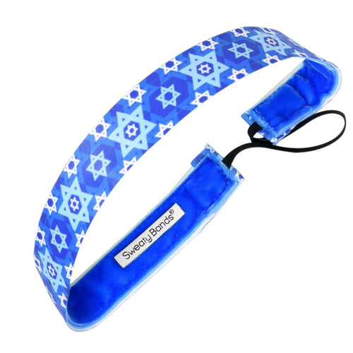 Holiday Hanukkah Blue Sweaty Bands Non Slip Headband