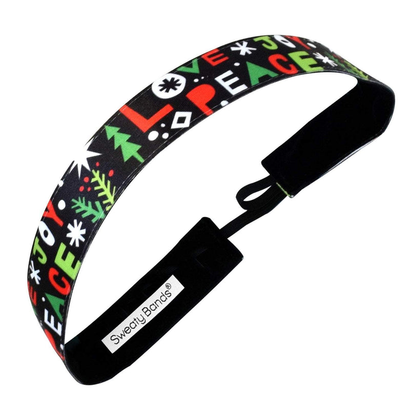 Holiday | Peace, Love, Joy | Black, Multi | 1 Inch Sweaty Bands